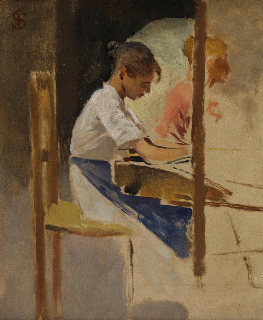 Sketch for 'Straw Weavers at Settignano' by Telemaco Signorini