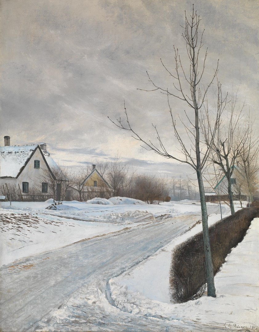 Road in the Village of Baldersbrønde (Winter Day) by Laurits Andersen Ring