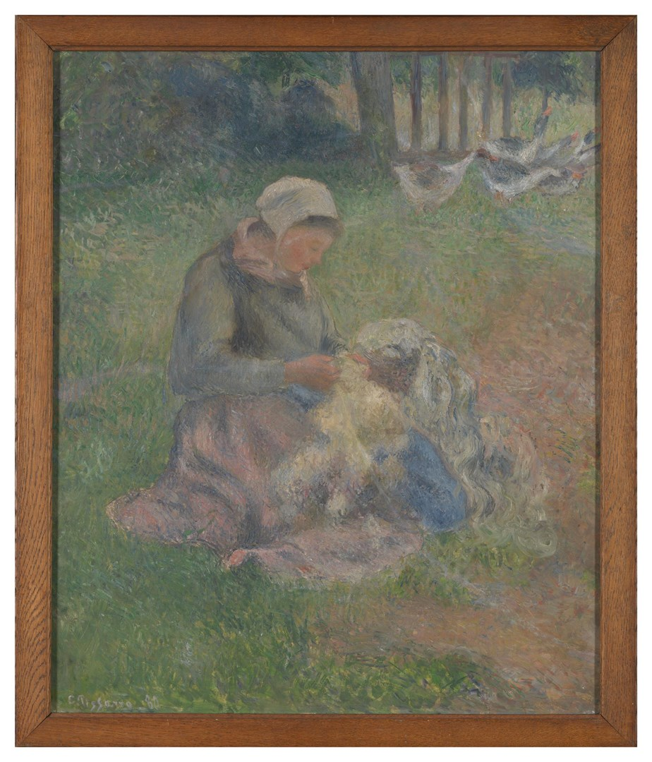 A Wool-Carder by Camille Pissarro