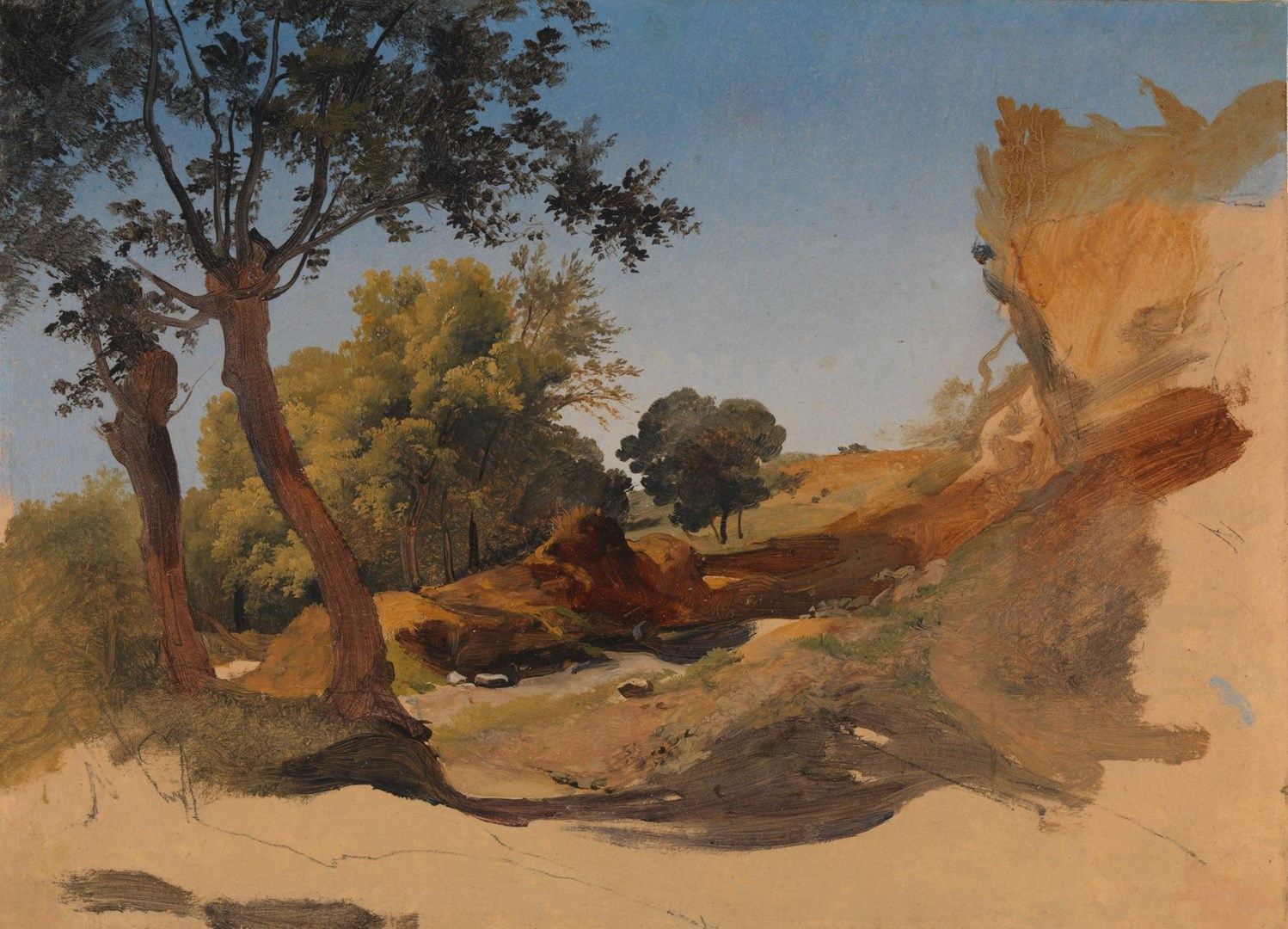 Landscape with Trees and Rocks by Giovanni-Battista Camuccini