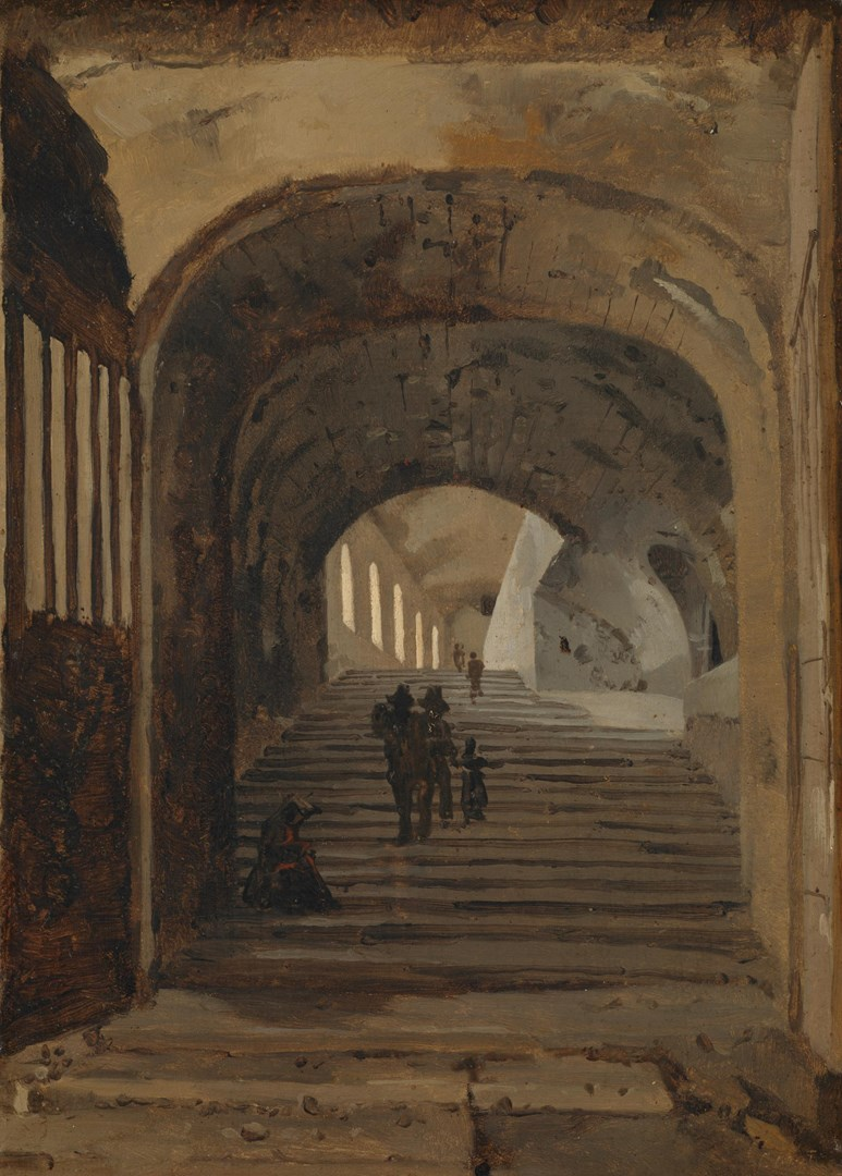 Staircase in the Villa of Maecenas, Tivoli by Probably by Jean-Baptiste-Camille Corot