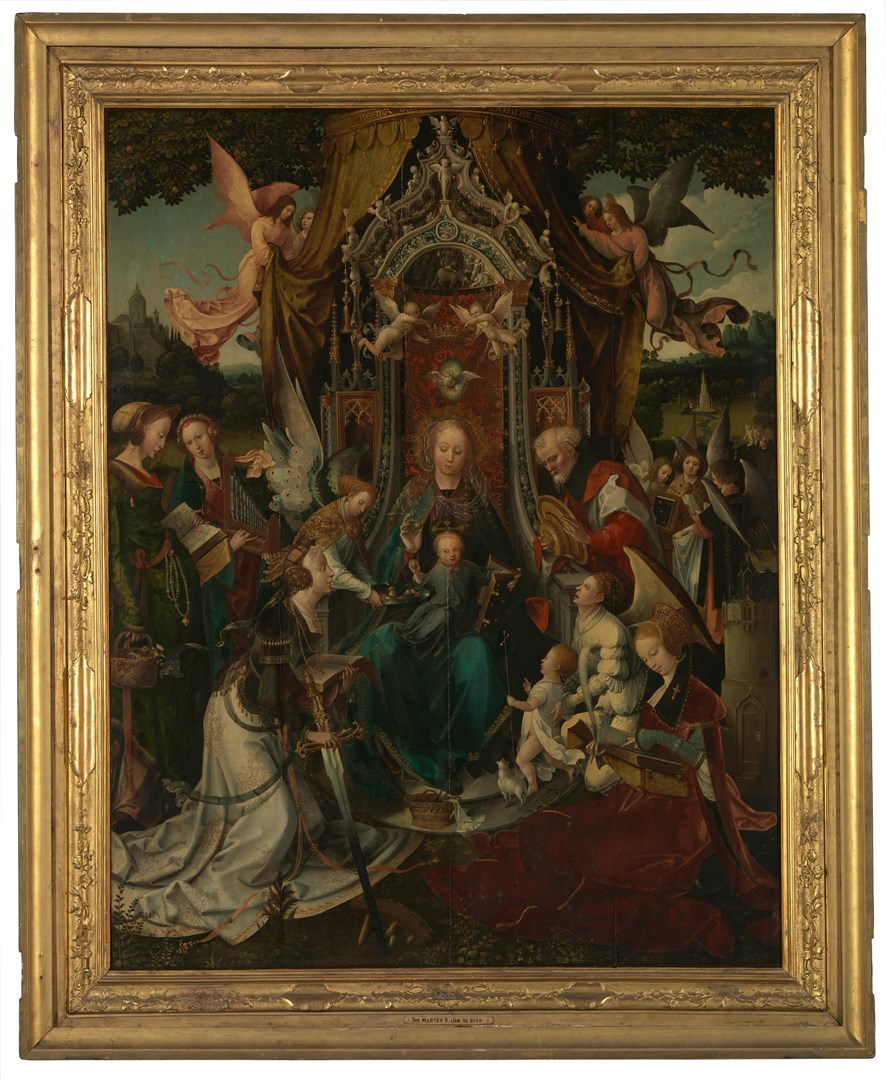 The Virgin and Child Enthroned, with Saints by Jan de Beer and workshop