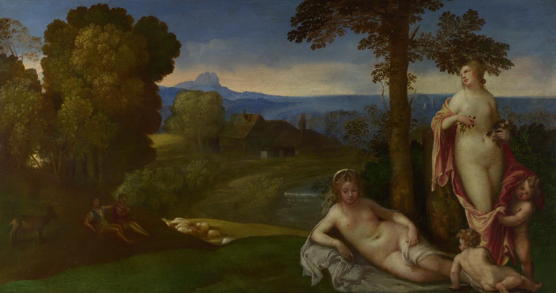 Nymphs and Children in a Landscape with Shepherds by Imitator of Giorgione