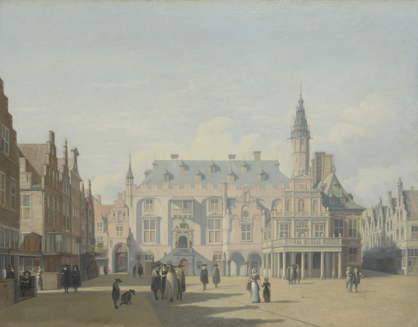 The Market Place and Town Hall, Haarlem by Gerrit Berckheyde