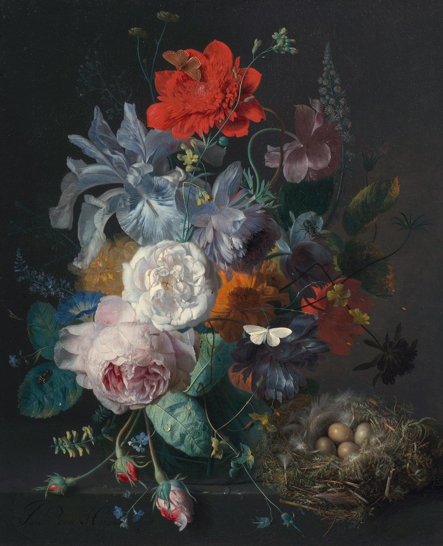 Glass Vase with Flowers, with a Poppy and a Finch Nest by Jan van Huysum