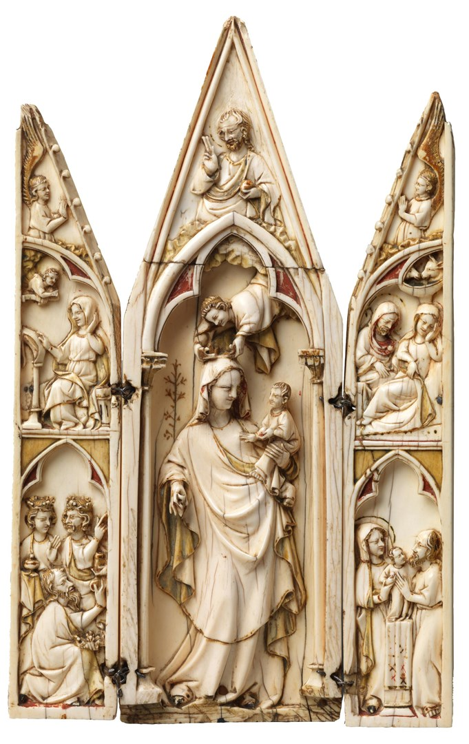 Virgin and Child Triptych by French or Italian