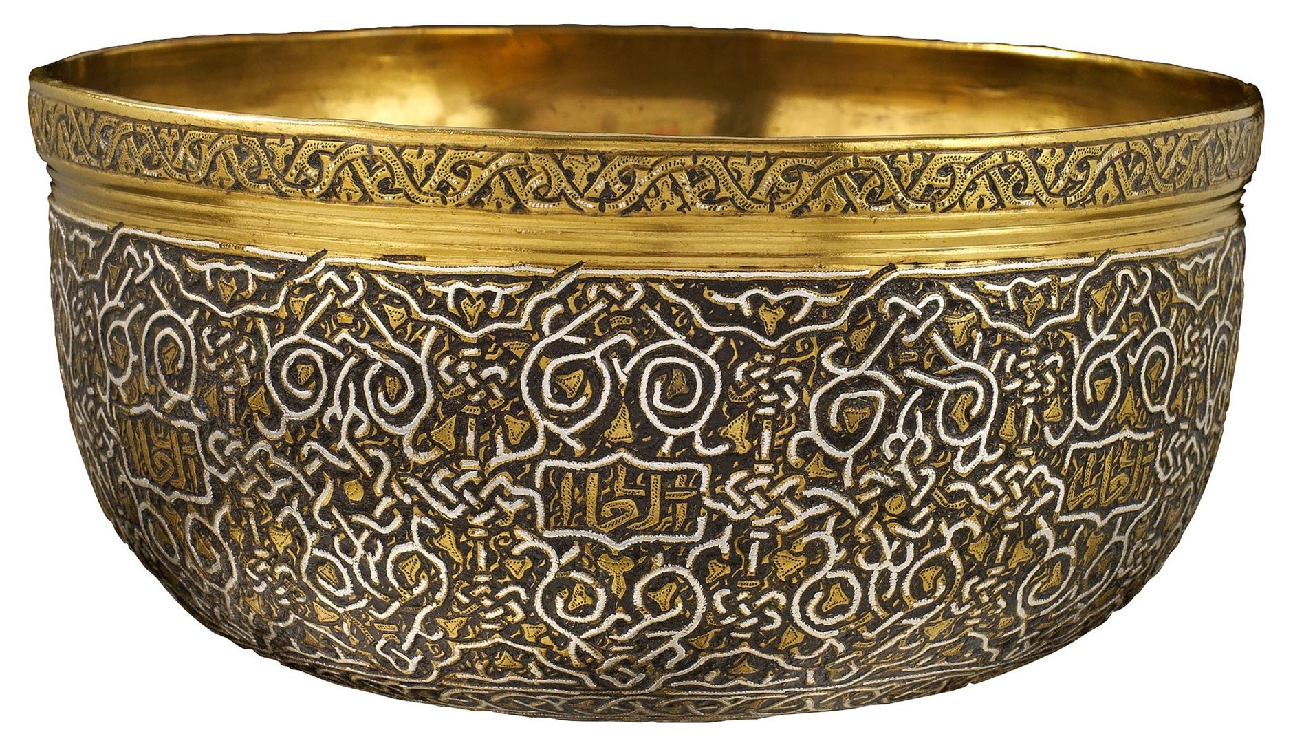 Silver inlaid brass bowl by Mamluk, Egyptian