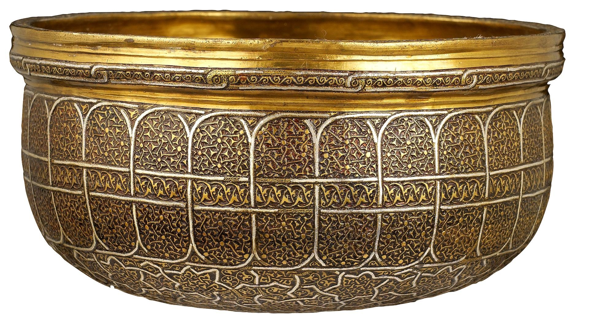 Silver inlaid brass bowl-shaped box with cover by Iranian or Turkish