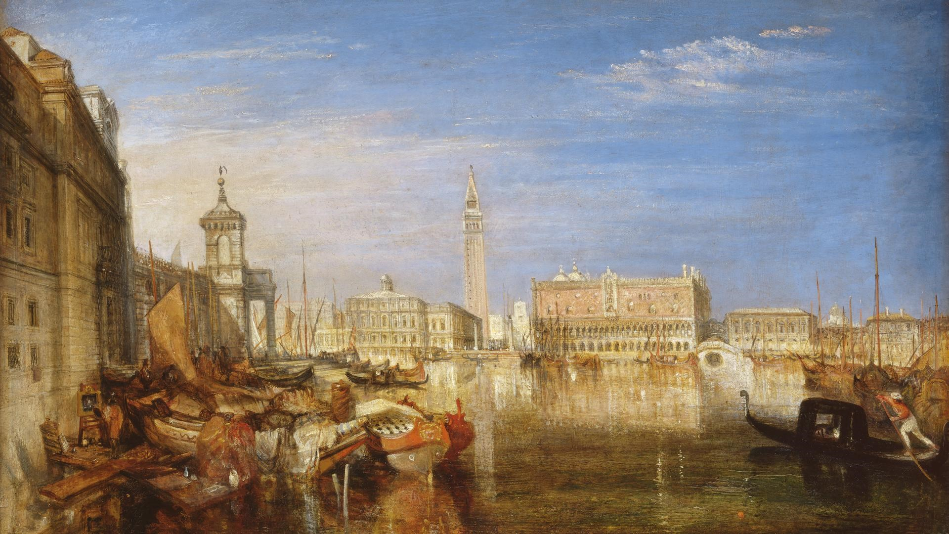 Bridge of Sighs, Ducal Palace and Custom House, Venice: Canaletti Painting by Joseph Mallord William Turner