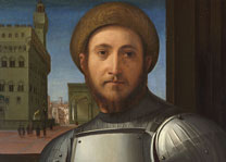 Detail from Francesco Granacci, 'Portrait of a Man in Armour', about 1510