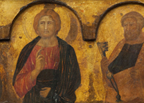 Detail from Pietro Lorenzetti, 'Christ between Saints Paul and Peter', c. 1320 © Ferens Art Gallery, Hull Museums