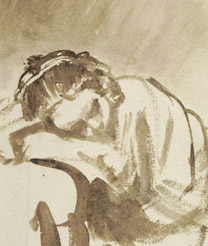 Detail from Rembrandt, 'A Young Woman sleeping (Hendrickje Stoffels?)', about 1654 © The Trustees of The British Museum