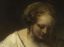 Detail from Rembrandt, A Woman bathing in a Stream (Hendrickje Stoffels?), 1654
