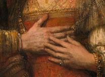 Detail from Rembrandt, 'Portrait of a Couple as Isaac and Rebecca, known as