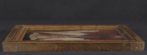 Jan van Eyck: 'Margaret, the Artist's Wife', 1439, view of th eleft edge of the panel.