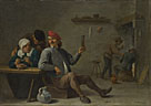 David Teniers the Younger: 'A Man holding a Glass and an Old Woman lighting a Pipe'