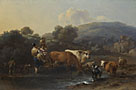 Nicolaes Berchem: 'Peasants with Cattle fording a Stream'