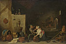 David Teniers the Younger: 'An Old Peasant caresses a Kitchen Maid in a Stable'