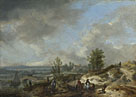 Philips Wouwermans: 'A Dune Landscape with a River and Many Figures'