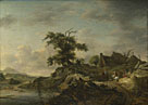 Jan Wouwermans: 'A Landscape with a Farm on the Bank of a River'
