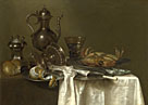 Willem Claesz. Heda: 'Still Life: Pewter and Silver Vessels and a Crab'