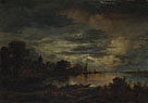 Aert van der Neer: 'A Village by a River in Moonlight'