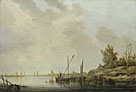 Aelbert Cuyp: 'A River Scene with Distant Windmills'