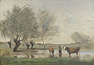 Jean-Baptiste-Camille Corot: 'Cows in a Marshy Landscape'