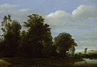 Cornelis Vroom: 'A Landscape with a River by a Wood'