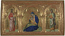 Attributed to Lorenzo Veneziano: 'The Madonna of Humility with Saints Mark and John'