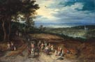 Jan Brueghel the Elder, Landscape with Travellers and Peasants on a Track, 1610