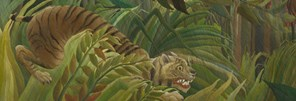 Detail from Henri Rousseau: 'Surprised!', 1891