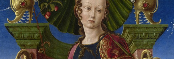 Detail from Cosimo Tura: 'A Muse (Calliope?)', probably 1455-60