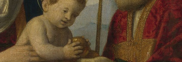 Detail from Attributed to Giovanni Battista Cima da Conegliano, 'The Virgin and Child with Saints', about 1513-18