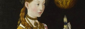 Detail from Lucas Cranach the Elder: 'Saints Genevieve and Apollonia  from The St Catherine Altarpiece: Reverses of Shutters', 1506