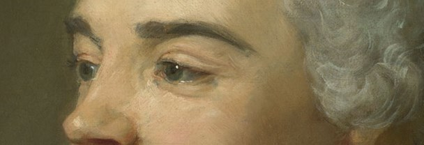 Detail from Jean-Baptiste Perronneau, 'Jacques Cazotte', about 1760-5