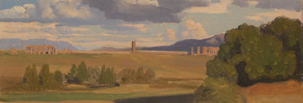 Jean-Baptiste-Camille Corot, 'The Roman Campagna, with the Claudian Aqueduct', probably 1826