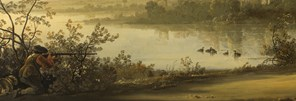 Detail from Aelbert Cuyp: 'River Landscape with Horseman and Peasants', about 1658-60