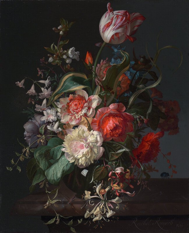 Rachel Ruysch Flowers In A Glass Vase With A Tulip L1208