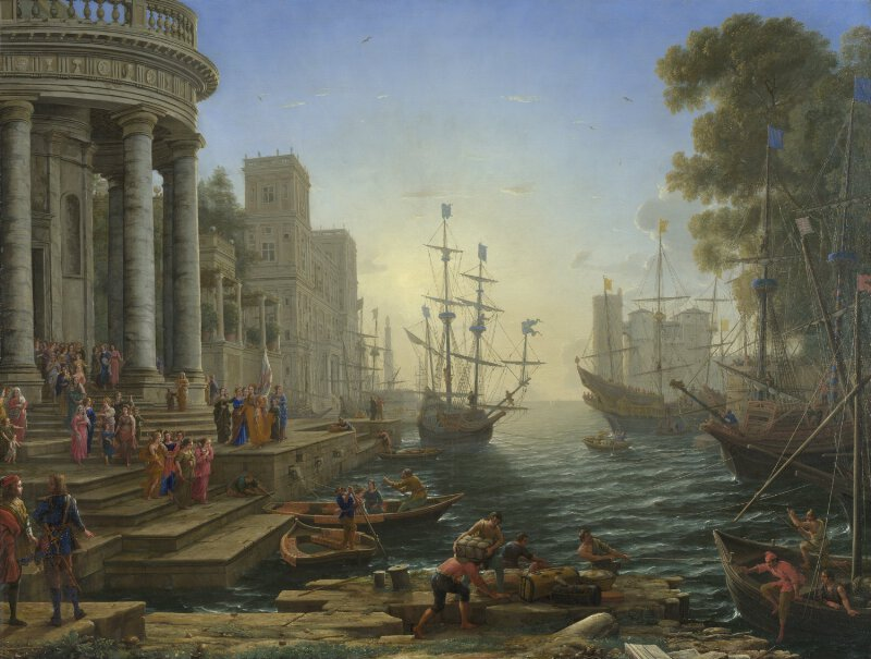 Seaport with the Embarkation of Saint Ursula (1641) by Claude