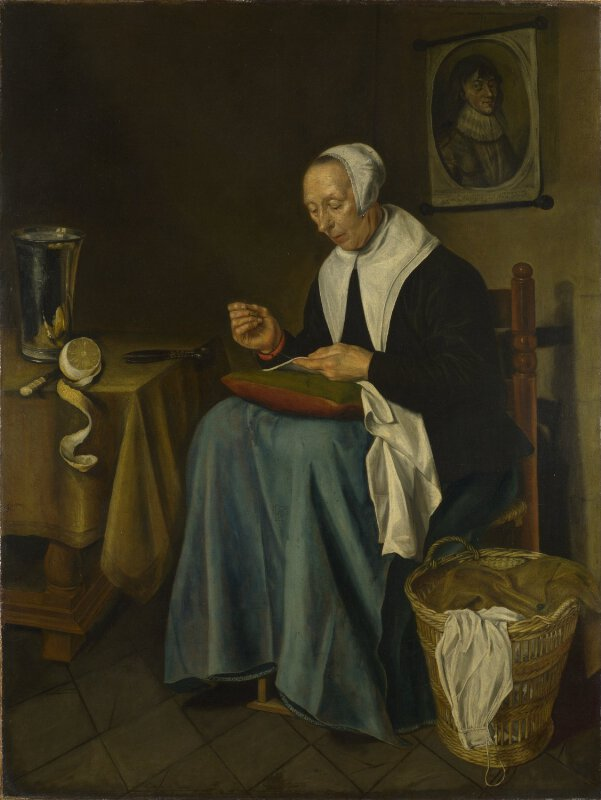 Johannes Van Der Aack An Old Woman Seated Sewing