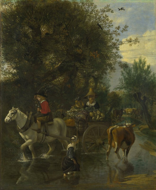 A Cowherd passing a Horse and Cart in a Stream