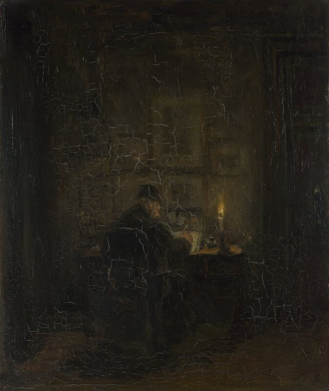An Old Man writing by Candlelight
