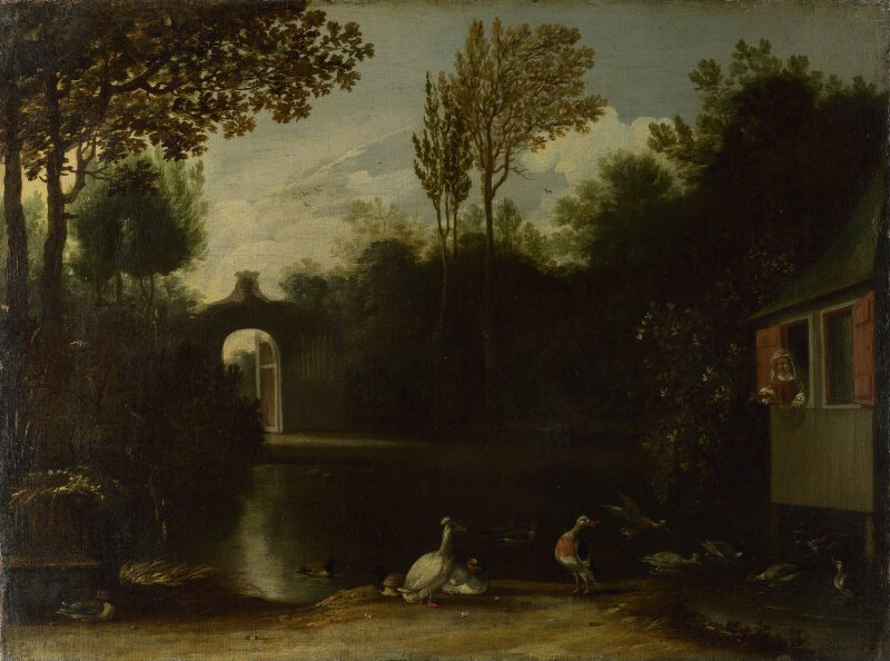 A Garden Scene with Waterfowl
