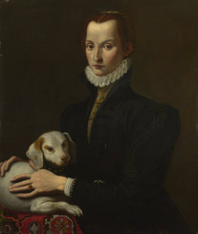 the lady with the pet dog