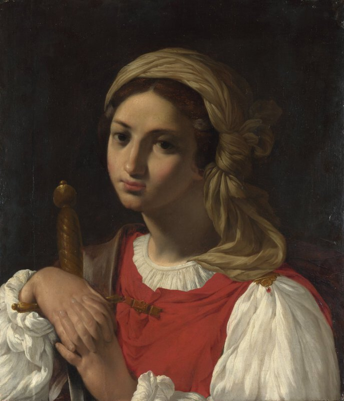 A Female Figure resting on a Sword