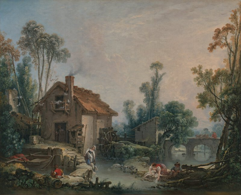 Fran 231 Ois Boucher Landscape With A Watermill Ng6374