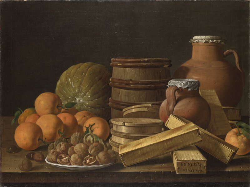 Luis Mel 233 Ndez Still Life With Oranges And Walnuts