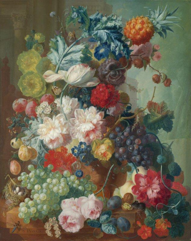 Jan Van Os Fruit And Flowers In A Terracotta Vase Ng6520