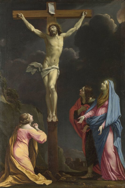 Eustache Le Sueur | Christ on the Cross with the Virgin ... Jesus On The Cross Painting
